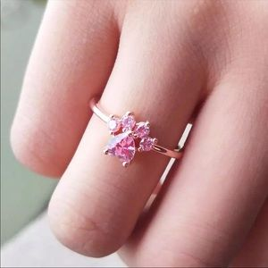 New 18k rose gold over s925 pink CZ paw 🐾 ring